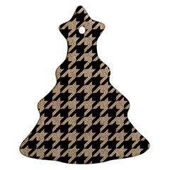 Houndstooth1 Black Marble & Sand Ornament (christmas Tree)  by trendistuff