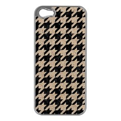 Houndstooth1 Black Marble & Sand Apple Iphone 5 Case (silver) by trendistuff