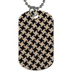 Houndstooth2 Black Marble & Sand Dog Tag (two Sides) by trendistuff