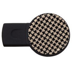 Houndstooth2 Black Marble & Sand Usb Flash Drive Round (2 Gb) by trendistuff