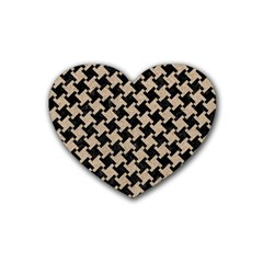 Houndstooth2 Black Marble & Sand Rubber Coaster (heart)  by trendistuff