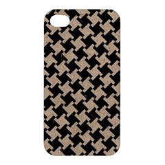 Houndstooth2 Black Marble & Sand Apple Iphone 4/4s Hardshell Case by trendistuff