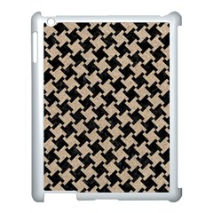 Houndstooth2 Black Marble & Sand Apple Ipad 3/4 Case (white) by trendistuff