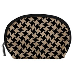 Houndstooth2 Black Marble & Sand Accessory Pouches (large)  by trendistuff