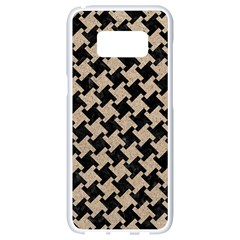 Houndstooth2 Black Marble & Sand Samsung Galaxy S8 White Seamless Case by trendistuff