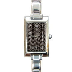 Hexagon1 Black Marble & Sand (r) Rectangle Italian Charm Watch by trendistuff
