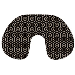 Hexagon1 Black Marble & Sand (r) Travel Neck Pillows by trendistuff