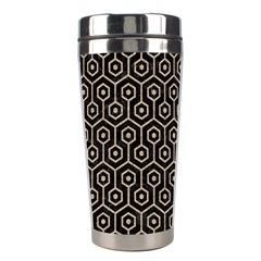 Hexagon1 Black Marble & Sand (r) Stainless Steel Travel Tumblers by trendistuff