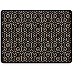 Hexagon1 Black Marble & Sand (r) Double Sided Fleece Blanket (large)  by trendistuff