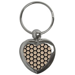 Hexagon2 Black Marble & Sand Key Chains (heart)  by trendistuff