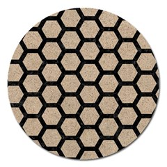 Hexagon2 Black Marble & Sand Magnet 5  (round) by trendistuff