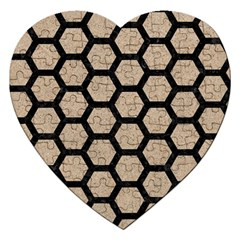 Hexagon2 Black Marble & Sand Jigsaw Puzzle (heart) by trendistuff