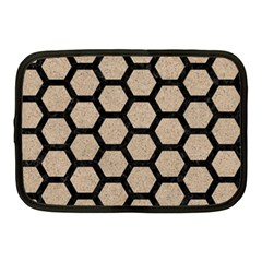 Hexagon2 Black Marble & Sand Netbook Case (medium)  by trendistuff