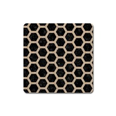 Hexagon2 Black Marble & Sand (r) Square Magnet by trendistuff