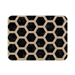 Hexagon2 Black Marble & Sand (r) Double Sided Flano Blanket (mini)  by trendistuff