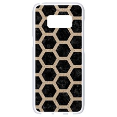 Hexagon2 Black Marble & Sand (r) Samsung Galaxy S8 White Seamless Case by trendistuff