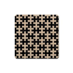 Puzzle1 Black Marble & Sand Square Magnet by trendistuff