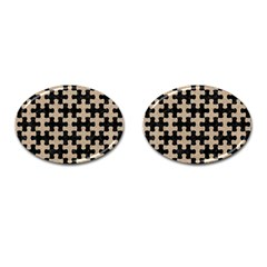 Puzzle1 Black Marble & Sand Cufflinks (oval) by trendistuff