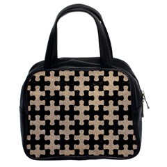 Puzzle1 Black Marble & Sand Classic Handbags (2 Sides) by trendistuff