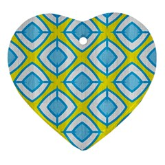 Blue Rhombus Pattern                                Ornament (heart) by LalyLauraFLM