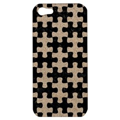 Puzzle1 Black Marble & Sand Apple Iphone 5 Hardshell Case by trendistuff