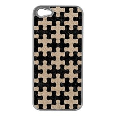 Puzzle1 Black Marble & Sand Apple Iphone 5 Case (silver) by trendistuff