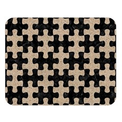 Puzzle1 Black Marble & Sand Double Sided Flano Blanket (large)  by trendistuff