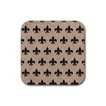 ROYAL1 BLACK MARBLE & SAND (R) Rubber Coaster (Square)  Front