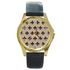Royal1 Black Marble & Sand (r) Round Gold Metal Watch by trendistuff