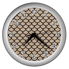 Scales1 Black Marble & Sand Wall Clocks (silver)