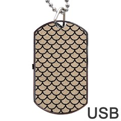 Scales1 Black Marble & Sand Dog Tag Usb Flash (one Side) by trendistuff