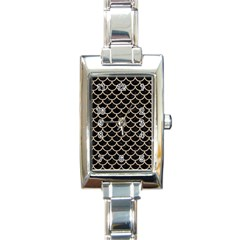 Scales1 Black Marble & Sand (r) Rectangle Italian Charm Watch by trendistuff