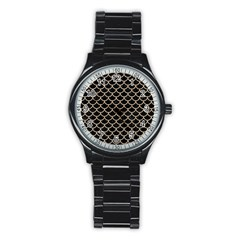 Scales1 Black Marble & Sand (r) Stainless Steel Round Watch by trendistuff