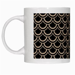 Scales2 Black Marble & Sand (r) White Mugs by trendistuff