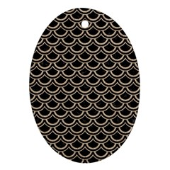 Scales2 Black Marble & Sand (r) Oval Ornament (two Sides) by trendistuff