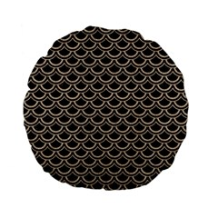 Scales2 Black Marble & Sand (r) Standard 15  Premium Flano Round Cushions