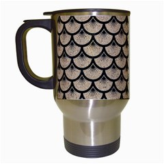 Scales3 Black Marble & Sand Travel Mugs (white) by trendistuff