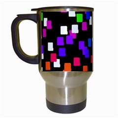 Colorful Rectangles On A Black Background                                 Travel Mug (white) by LalyLauraFLM