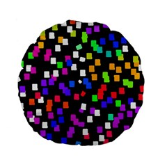 Colorful Rectangles On A Black Background                           Standard 15  Premium Flano Round Cushion