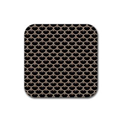 Scales3 Black Marble & Sand (r) Rubber Square Coaster (4 Pack)  by trendistuff