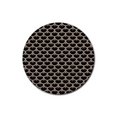 Scales3 Black Marble & Sand (r) Rubber Coaster (round)  by trendistuff