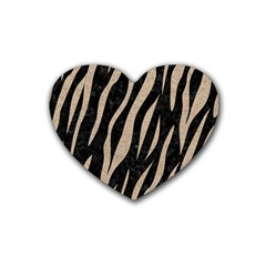 Skin3 Black Marble & Sand (r) Rubber Coaster (heart)  by trendistuff