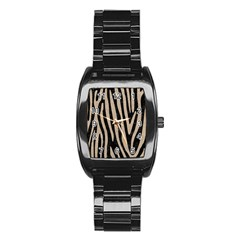 Skin4 Black Marble & Sand Stainless Steel Barrel Watch by trendistuff