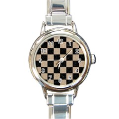 Square1 Black Marble & Sand Round Italian Charm Watch by trendistuff