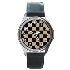 Square1 Black Marble & Sand Round Metal Watch by trendistuff