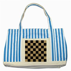 Square1 Black Marble & Sand Striped Blue Tote Bag by trendistuff