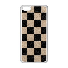 Square1 Black Marble & Sand Apple Iphone 5c Seamless Case (white) by trendistuff