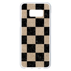 Square1 Black Marble & Sand Samsung Galaxy S8 Plus White Seamless Case by trendistuff