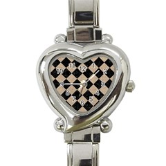 Square2 Black Marble & Sand Heart Italian Charm Watch by trendistuff