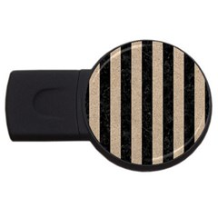 Stripes1 Black Marble & Sand Usb Flash Drive Round (4 Gb) by trendistuff